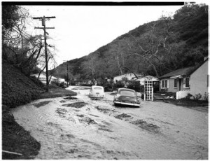 Beverly Glen flooding in 1952 (Photo: USC Archives)